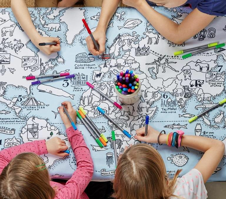 World Map Colour In Tablecloth
