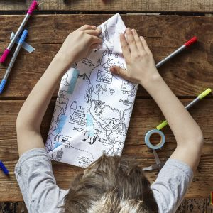 colour-in world map wrapping paper