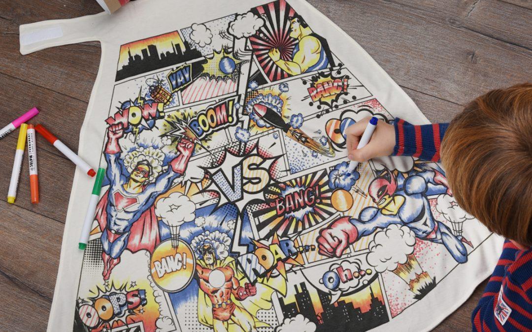 Superhero Comic Colour In Cape With Fabric Pens
