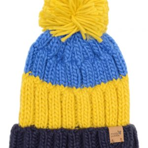 knitted bobble hat - yellow