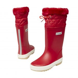 fleece lined wellies - red