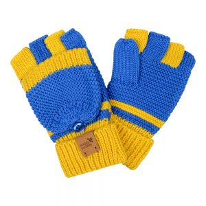 knitted mittens - yellow/blue