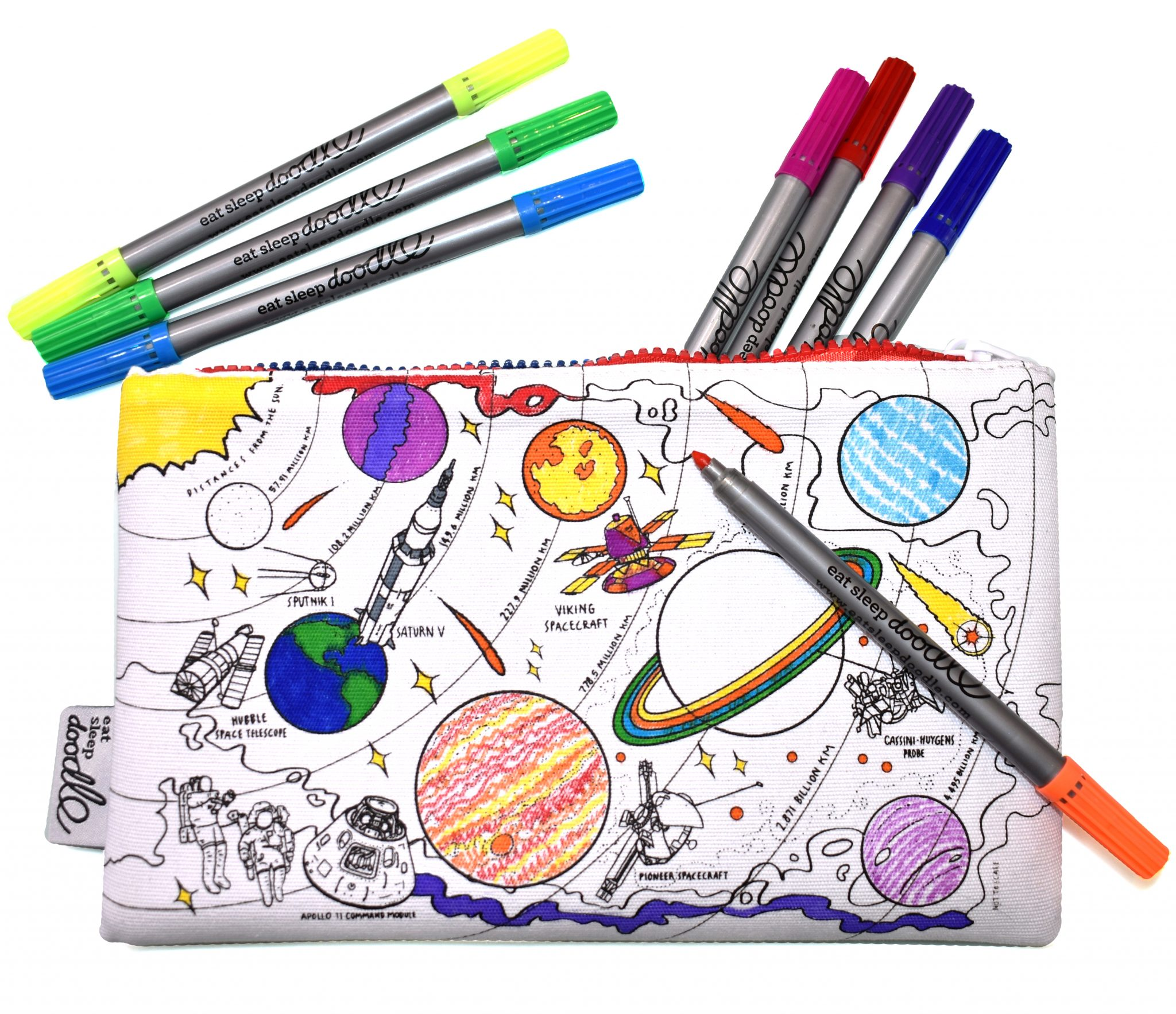 PERSONALISED SPACE ROCKET PLANETS PENCIL CASE SCHOOL CHRISTMAS BIRTHDAY GIFT