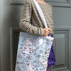 colour-in world map tote bag