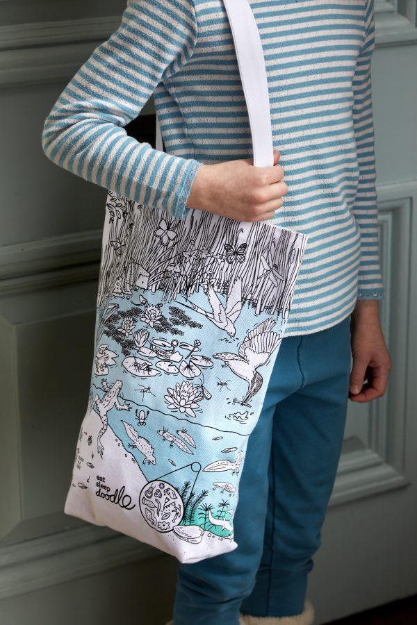 cotton shopper tote bag pond life design