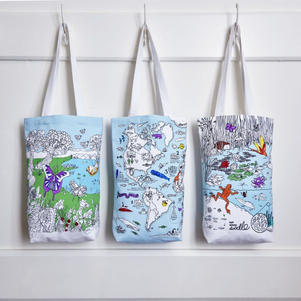 eatsleepdoodle tote bags to colour